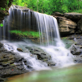 SUMMER  FLOW by Dana Johnson - Landscapes Waterscapes ( waterscape, cascade, falls, waterfall, summer, landscape, spring )