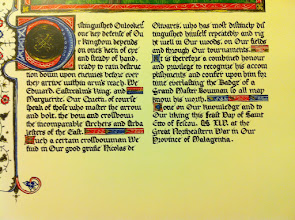 Photo: Detail shot of Nicolas' GMB calligraphy. Illumination by Lady Camille des Jardins.