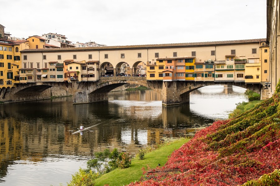 Ponte Vecchio by Andrej Kozelj - Buildings & Architecture Bridges & Suspended Structures ( colorful, colors, beautiful, toscany, boat, rivers, historic, city, history, florence, arhitecture, color, bridge, historical, town, bridges, flowers, italy, flower, river )