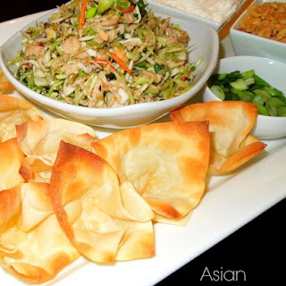 Asian Chicken Salad Wonton Nachos.
