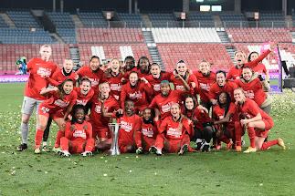 La celebración del Atlético.