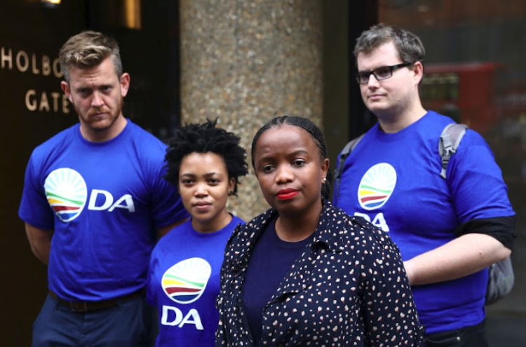 Phumzile Van Damme of the Democratic Alliance National speaks outside the Bell Pottinger offices in London. File photo.