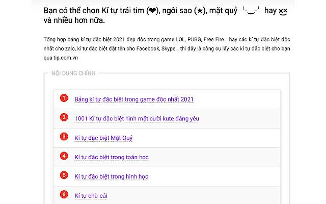 Kí tự đặc biệt - Tip.com.vn