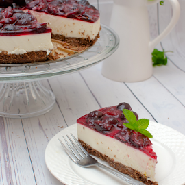 Cold cheesecake by Yancho Zapryanov - Food & Drink Candy & Dessert ( cherry, berry, fruit, gourmet, cold, pie, cheese, red, creamy, white, cheesecake, slice, cake, diet, free, delicacy, organic, table, cream-cheese, yummy, homemade, bakery, stevia, cuisine, delicious, food, crust, pastry, dessert, closeup, piece, healthy, background, tasty, sweet, fresh, sugar, dairy )