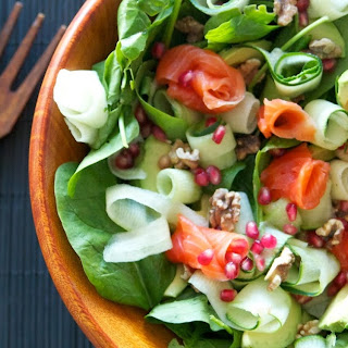 Smoked Salmon Salad with Cucumbers, Toasted Walnuts, Pomegranate Seeds, Avocados and Baby Spinach