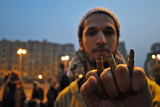 Photo: Bullet casings recovered from the ground following the army's attack on Tahrir Square.
