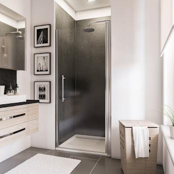 Porte de douche pivotante en niche, 70, 80, 90 ou 100 cm
