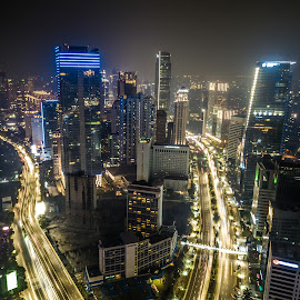 Jakarta Cityscapes by Irfan Firdaus - City,  Street & Park  Night ( travel photography, light trails, indonesia, landscape, low light )