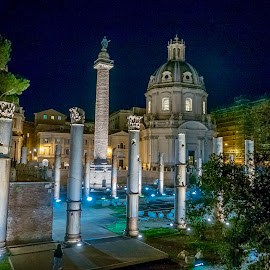 Travel to The roman forums by Pietro Marsili - Buildings & Architecture Statues & Monuments ( roma rome forums trajan column night travel lights night columns tourism event )