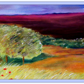 In the field by Vesna Disich - Painting All Painting ( field, pastel, nature, tree, colors, art, summer )