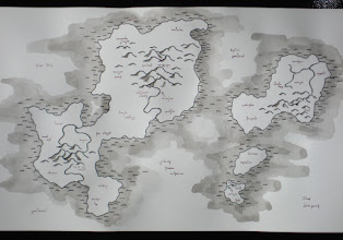 Photo: This map is smaller, and entirely ink or ink washes applied with various-sized pens and brushes. I tried out some new styles for the mountains, too. Unfortunately, it doesn't photograph all that well.