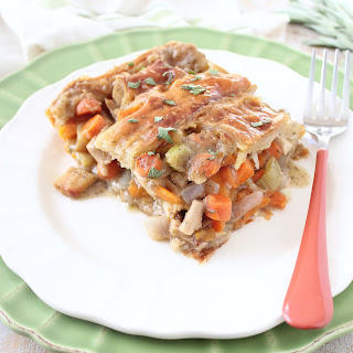Turkey Pot Pie with Puff Pastry Crust.
