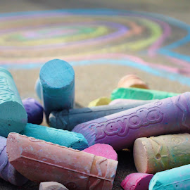 Left Out Chalk by Amelia Rice - Artistic Objects Still Life ( chalk, colors, street chalk, summer, outside, drawing )
