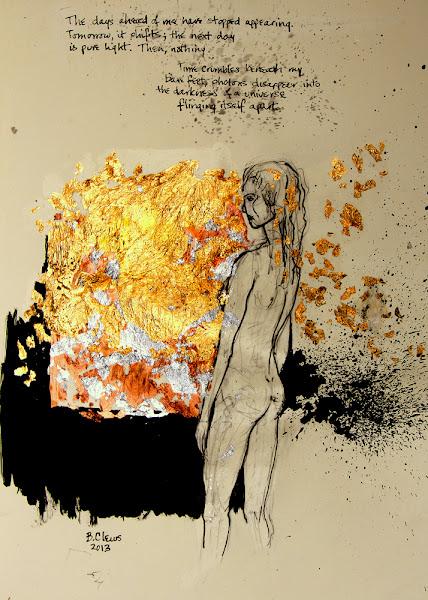 "Photo: Illuminata, 2013, Brenda Clews, 28.5cm x 42cm, 11 1/4"" x 16 1/2"", graphite, India ink, copper, silver and gold leaf in a Moleskine A3 Sketchbook."
