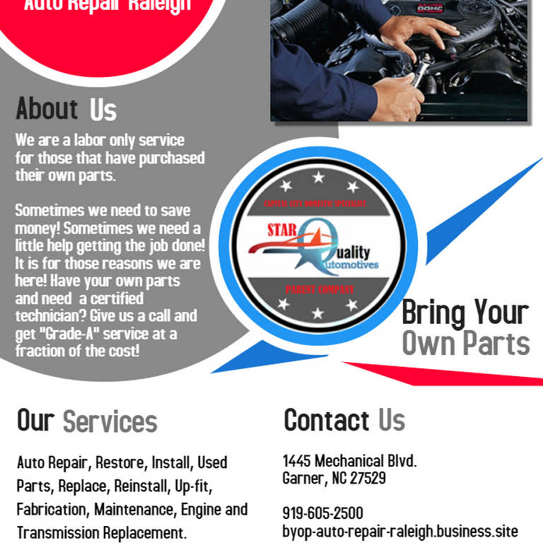 Bring Your Own Parts Auto Repair >> Byop Auto Repair Raleigh Bring Your Own Parts Auto Repair