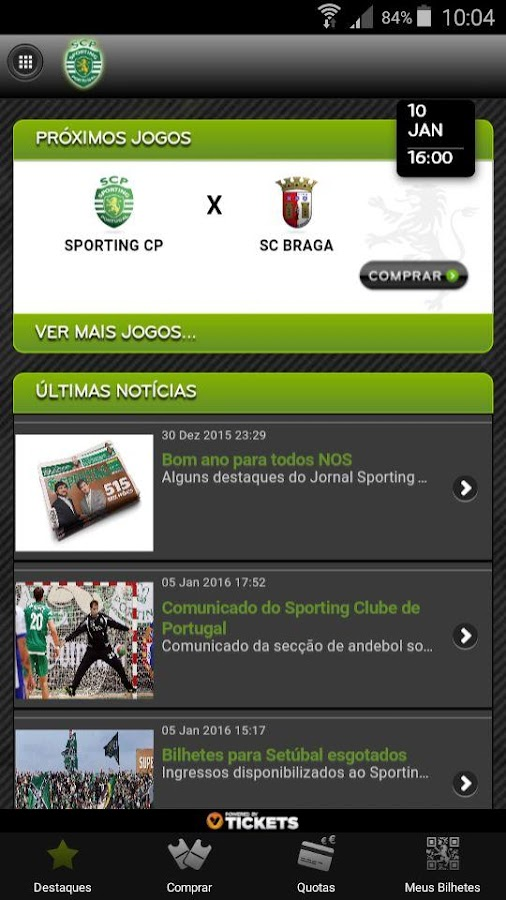 MeuSporting– captura de ecrã