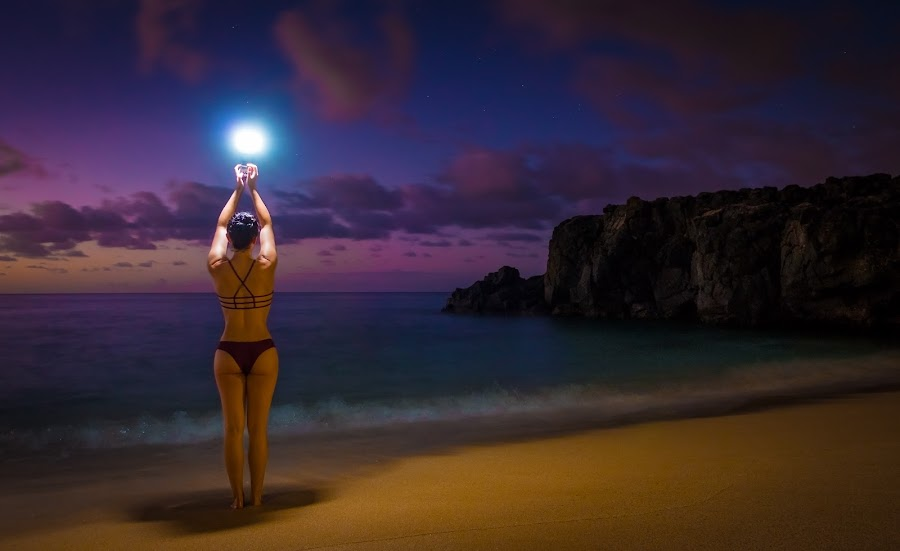 Let there be light by Patrick Miyoshi - People Street & Candids ( flash sunset sand beach clouds ocean cliff woman sexy bikini )