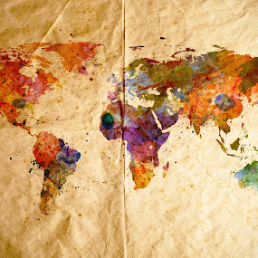 Watercolor world map, old paper background by Leszek Glasner - Illustration Places ( pastel, old, splash, illustration, rusty, scrapbook, aged, backdrop, planet, grunge, page, composition, watercolour, template, symbol, texture, wallpaper, global, art, international, paint, rough, ink, sign, cardboard, brush, watercolor, graphic, concept, colorful, set, paper, retro, creativity, stencil, map, globe, abstract, icon, vintage, stain, effect, pattern, color, background, artistic, earth, design, world, atlas )