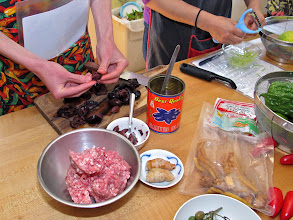 Photo: preparing ingredients for the black olive fried rice