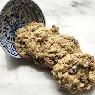 Healthier Whole Grain Soft and Chewy Oatmeal Raisin Cookies.