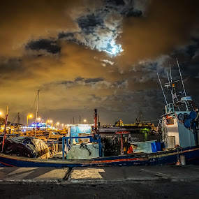 Port by Zisimos Zizos - Landscapes Weather ( port, clouds, moon, night photography, boats, moonlight, nightscape )