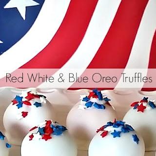 Red, White & Blue Oreo Truffles.