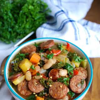 Slow Cooker Sausage Kale White Bean Soup.