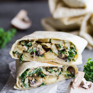 Healthy Breakfast Burritos with Kale, Mushrooms and Feta.