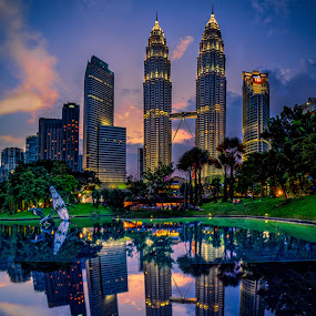 Reflection by Tien Sang Kok - City,  Street & Park  City Parks ( reflection, building, cityscape, architecture, nightscape )