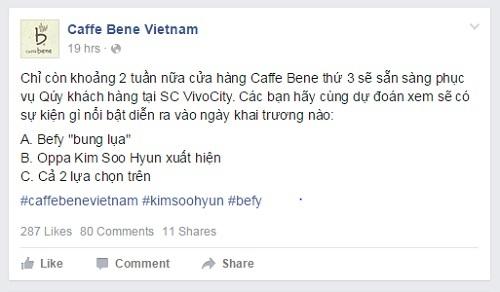 Cách tăng tương tác trên bài viết của Caffe Bene Vietnam