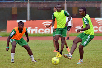 Photo: Sam Bangura and John Kamara [Leone Stars Training Camp, in advance of Equatorial Guinea, Sept 2013 (Pic: Darren McKinstry)]