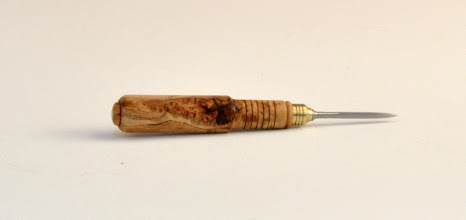 "Photo: Michael Blake - Bird Cage Awl - 5"" overall, 1 1/2"" blade - Cherry Burl"