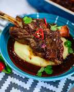 An Asian style lamb shank on a bed of creamy mash. Maseko says you can make this dish South African by adding some chakalaka flavours.