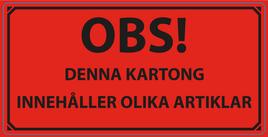 """Varningsetikett """"Innehåller Olika Artiklar"""" 50x100mm"""