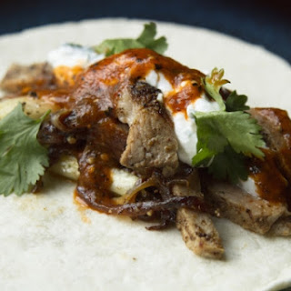 Tacos Árabes with Cucumber Crema and Chipotle Salsa
