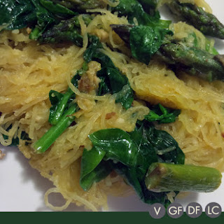 Spinach and Asparagus Spaghetti Squash