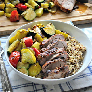 Grilled Roasted Garlic & Cracked Black Pepper Pork Tenderloin with Brown Rice & Veggie Bowls.