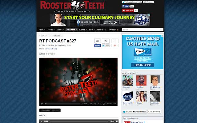 Rooster Teeth Videos in New Tab