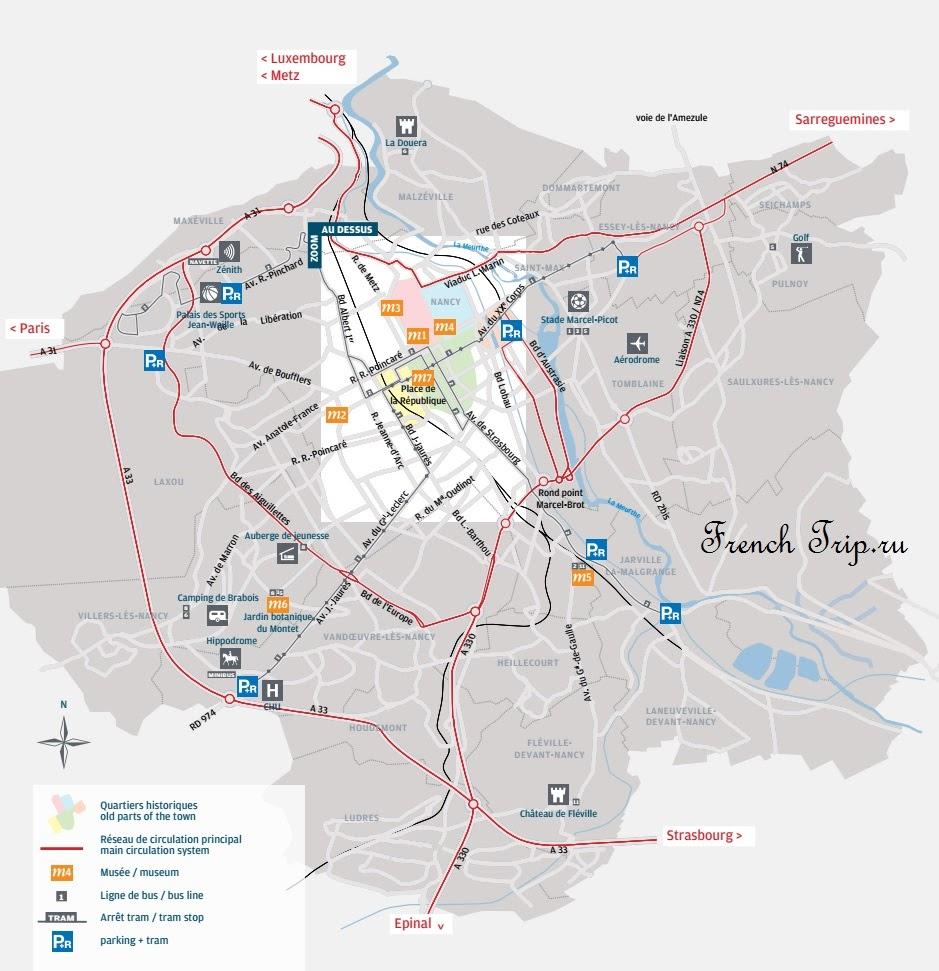 Карта дорог вокруг центра Нанси и отмеченные парковки Park & Ride в Нанси - Как доехать на машине в Нанси, карта проезда, расстояние от Нанси до других городов, недорогие парковки в Нанси. Бесплатные и платные шоссе возле Нанси.