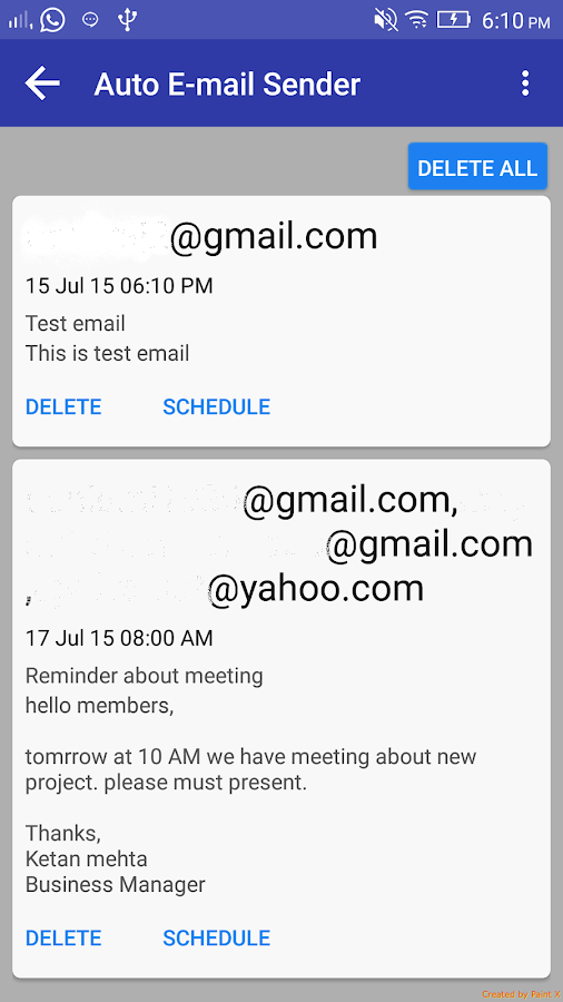 Auto E-mail Sender- screenshot