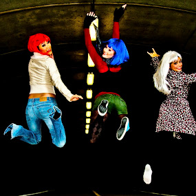 having fun by Brett Kurtz - People Portraits of Women ( shoes, clothes, nola, by, fun, women, jump, models, photos, florida, orlando, having, night, tunnel )