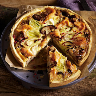 Mushroom, Leek and Salmon Quiche