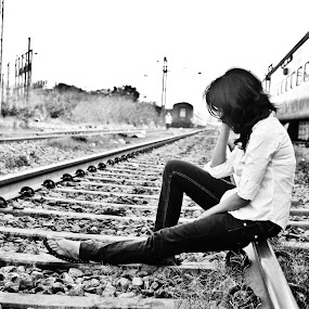 Broken Angel5 by Ananth Eswar - People Street & Candids ( sadness, alpha photography, date, railway tracks, break up, broke, angel, broken angel, girl, alpha, meet up, train, alone, lonely girl )