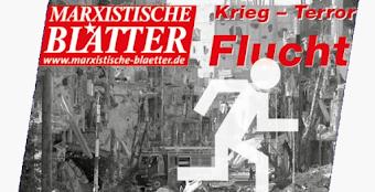 Titelbild: Flucht-Icon vor Trümmern. «Marxistische Blätter. Krieg – Terror – Flucht».