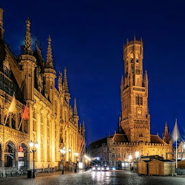 Brugge at night by Indrawaty Arifin - City,  Street & Park  Night ( night, cityscape, blue hour, ancient )