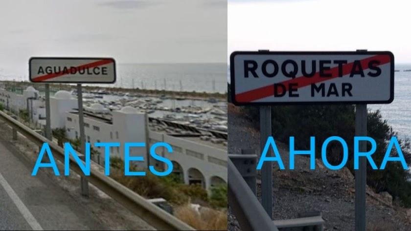 Montaje con el cambio de señal denunciado por Aguadulce en Marcha.