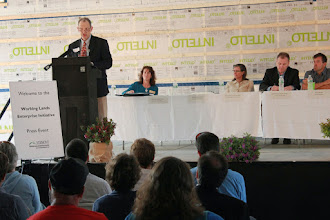 Photo: Ag Secretary Chuck Ross speaking at the 2015 Working Lands Press Event at Maple Wind Farm in Richmond, VT