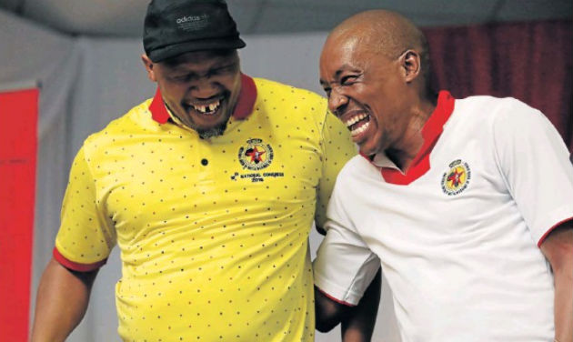 Numsa's Irvin Jim, left, and Mphumzi Maqungu at the Coega Village in Motherwell