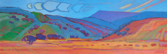 "Photo: Vaqueros Spirit, acrylic on canvas 8"" x 24"" by Nancy Roberts, copyright 2014."