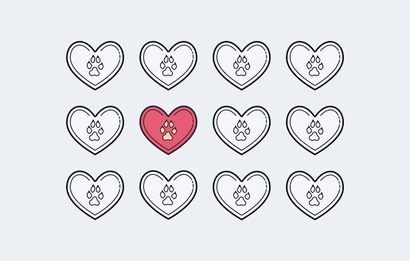 A pink colored heart icon stands out in a 3x4 grid of grey-scale icons.